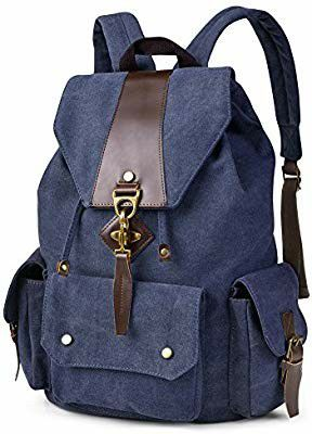 Black Friday sale canvas Backpack Vintage Canvas Leather Backpack Casual Bookbag Laptop Backpacks Travel Rucksack for Men Women for Sale in Torrance, CA