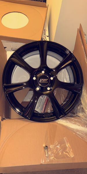 18 X 8 inch SPORT EDITION GLOSSY BLACK RIMS 5 x 112 mm BRAND NEW, in box set of 4! for Sale in Martinsburg, WV