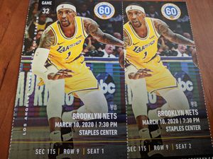 2 tickets Lakers vs. Nets Section 115, Row 9 for Sale in Los Angeles, CA