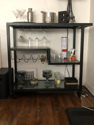 Black steel and mirrored glass bar on casters for Sale in Los Angeles, CA