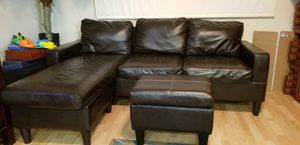 Dark espresso couch/sectional with ottoman for Sale in Miramar, FL