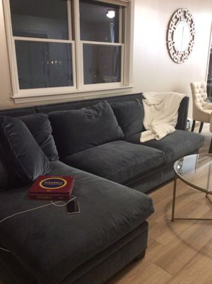 Designer Bernhardt velvet blue studded sectional couch for Sale in Queens, NY