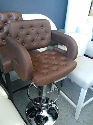 Height Adjustable Tufted Barstools Brown 4 AVAILABLE $99 each! NEW in box for Sale in Manteca, CA