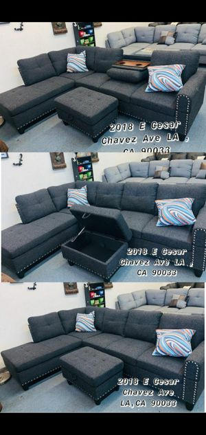Grey sectional sofa with storage ottoman and cup holder console for Sale in Buena Park, CA