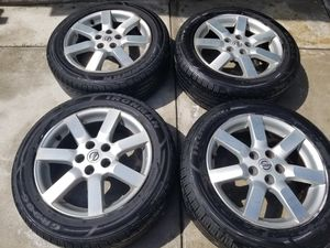 Nissan maxima rims, 5x114.3, like new ironman tires size 225/55/17 for Sale in Riverside, CA