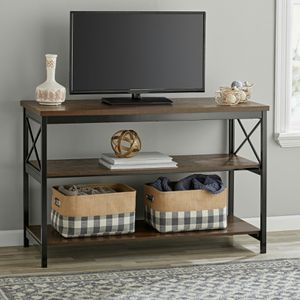 "Mainstays 3-Shelf TV Console Table for Most TVs up to 42"", Sawcut Brown for Sale in Houston, TX"