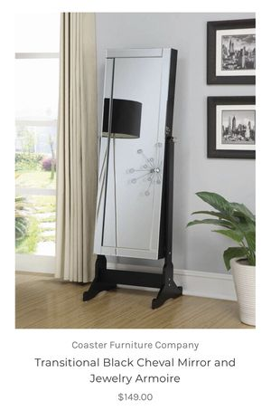 Black Cheval Mirror And Jewerly Armoire for Sale in Dallas, TX