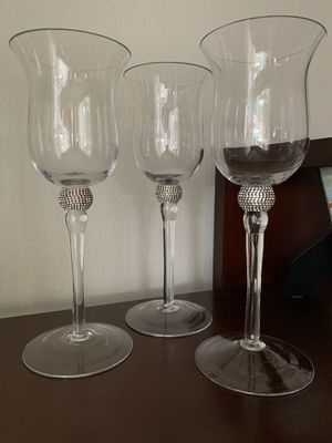 Set of 3 crystal long stem wine glass candle holders from Pier 1 one for Sale in Tacoma, WA