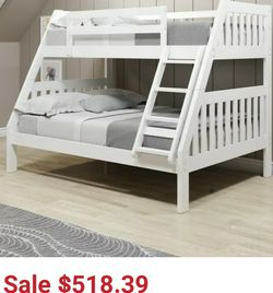Twin Over Full White Bunk Bed for Sale in Hayward,  CA