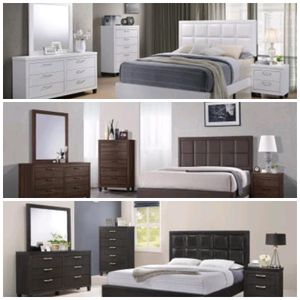 On Deck! Brand new Queen size bedroom sets $599 Includes Queen size headboard, footboard, slats, side rails, dresser, mirror and nightstand for Sale in Richmond, VA