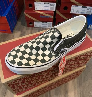 Dark Green checkered Vans - woman's - 7 / boys- 5.5 for Sale in Ontario, CA