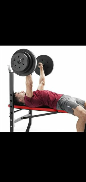 100lb weight set with bench and barbell for Sale in Portland, OR
