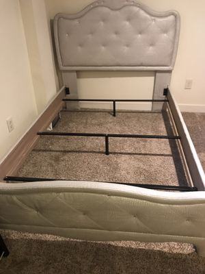 Matching bed frame-full size, and small desk with stool for Sale in Denver, CO