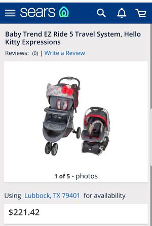 hello kitty carseat, base and stroller for Sale in Addison, TX