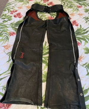 Power Trip Leather motorcycle chaps XS with match S vest for Sale in Henderson, NV