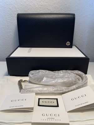 NWT Gucci GG Logo Black Leather WOC Chain Wallet Interlocking Charm 466506 $1200 for Sale in Los Angeles, CA