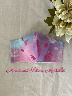Mermaid Silver Metallic Face Mask with Filter Pocket for Sale in Hayward, CA