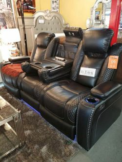 🏺$39 Down Payment . 🏺🏺Party Time Midnight LED Power Reclining Sofa with Adjustable Headrest IN STOCK for Sale in Beltsville,  MD