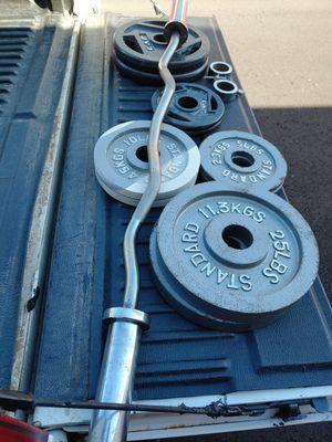 Olympic curl bar plus 140 lbs for Sale in Phoenix, AZ