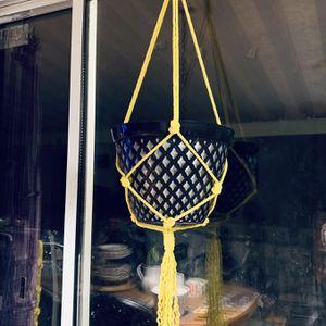 Yellow Macrame Hanging plant Pot Holder Garden Indoor Outdoor for Sale in Riverside, CA