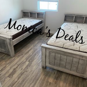 Twin Solid Wood Beds & Bamboo Mattresses $540 for Sale in Montebello, CA