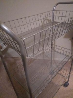 Small 3 shelf cart w wheels for Sale in Downsville, LA