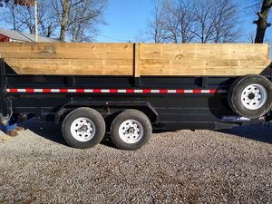 Sure trac 2019dump trailer 16 ft. Long 7ft.wide roll over tarp cargo doors with gravel gate 7000 lbs Axel's twin host like only hauled sawdust for Sale in Hopkinsville, KY