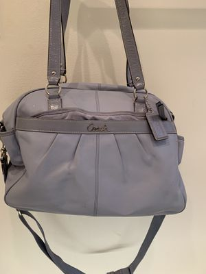 Blue leather coach diaper bag. In very good condition for Sale in Jupiter, FL
