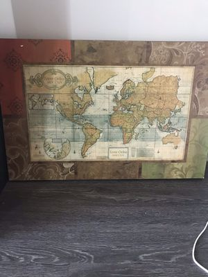 World map, wooden, vintage for Sale in Raleigh, NC