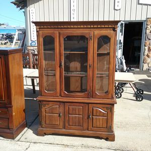 2 piece solid wood china cabinet for Sale in Belle Chasse, LA
