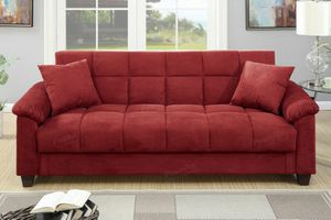Red microfiber adjustable futon sofa bed couch for Sale in Downey, CA