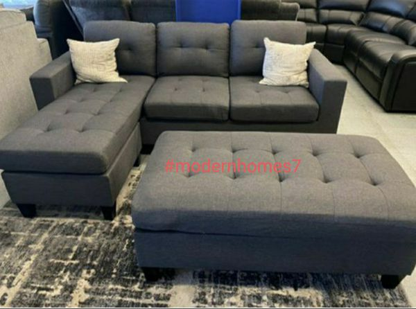 Grey sectional sofa with ottoman convertible sleeper couch 81x60 ""