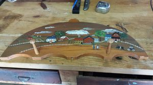 Two peg wooden hand painted wall hanging for Sale in Apex, NC