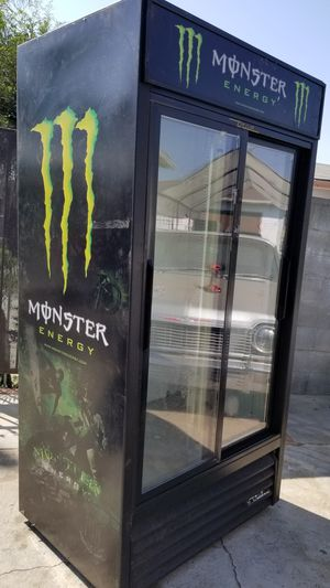 Monster Upright Refrigerator with 2 Glass Sliding Doors & Shelves $600 OBO for Sale in Whittier, CA