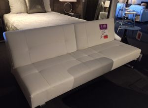 Modern Sofa futon couch white leather like fabric for Sale in Menifee, CA
