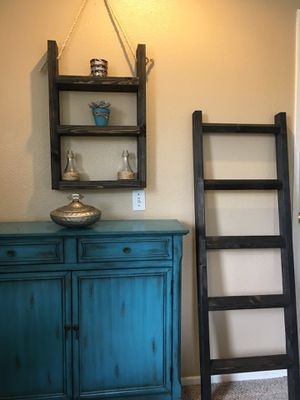 Rustic ladder shelf and blanket/towel ladder for Sale in Oceanside, CA