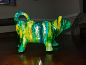 bull cow ceramic porcelain milk creamer or oil vinegar pour hand painted alcohol ink resined for Sale in Germantown, MD