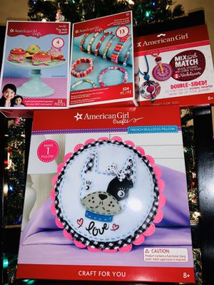 4 NEW American Girl Doll Craft kits - bulldog pillow, necklaces, bracelets and felt treats for Sale in Gresham, OR