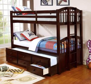 Espresso Twin Over Twin Bunk Bed with Storage Drawers and Twin Trundle | HH4000 for Sale in Austin, TX