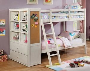 Off White Twin over Twin Size Bunk Bed Storage Bookcase 2 Drawer Chest for Sale in San Diego, CA