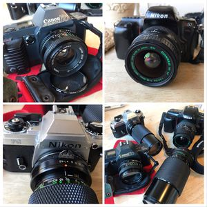 Canon and Nikon slr 35mm film cameras T70, FG and N50 w lenses. EACH SOLD SEPARATELY for Sale in Whittier, CA