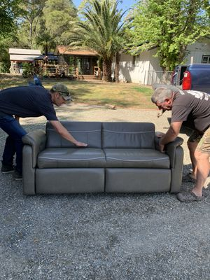 """2019 RV Pop Out Section Recliner used a few times. Just changing colors. 6 ft long and both sides recline. 54"""" deep Leather for Sale in Loomis, CA"""