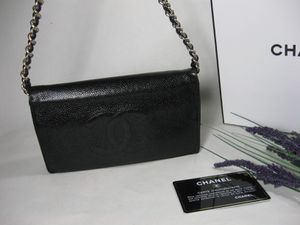 Chanel Black Caviar Leather CC Long Full Flap Bag Wallet for Sale in Johnsburg, IL