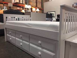 Twin Mission Style Captain Bed (Fully Slated) with Trundle and Drawers, White, SKU 7590 for Sale in Santa Ana, CA