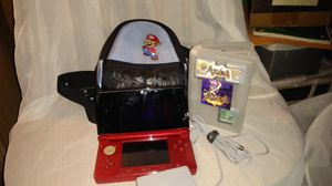 Nintendo 3DS 4 game's clear game case and Mario denim embroidered carring bag for Sale in Portland, OR