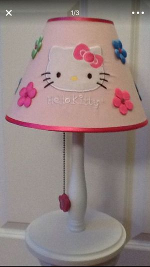 "LIKE NEW EXCELLENT CONDITION 15"" Tall Hello Kitty Pink Lamp - shade has satin bling flowers front and back, on/off pull chain baby girls room for Sale in Plainfield, IL"
