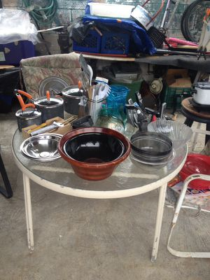 Glass pots and bowls , some are Pyrex and some are - I'm asking 65.00 Dollars for all that you see on that tables for Sale in Norwalk, CA