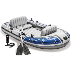 Intex Excursion 4, 4-Person Inflatable Boat Set with Aluminum Oars and High Output Air Pump (Latest Model) for Sale in Chelmsford, MA