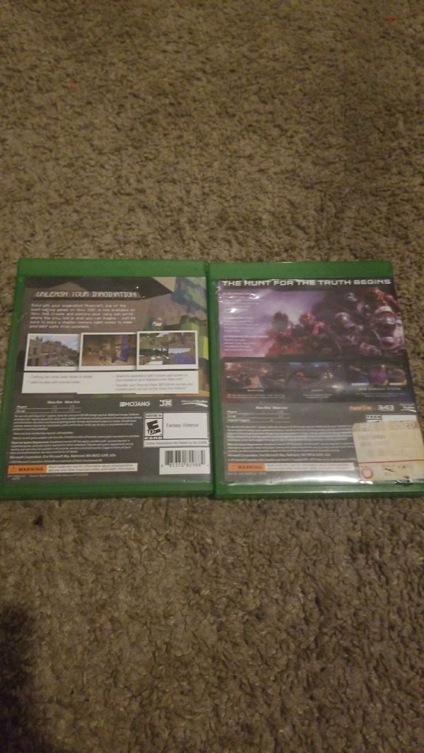 Xbox 1 Mincraft and halo 5 guardians