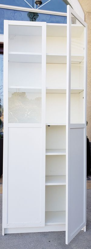 Beautiful IKEA Double 2 Glass Door Display Curio Bookcase Bookshelves Organizer Stand Unit Pantry Kitchen Bath Cabinet + Adjustable Shelves INCLUDED for Sale in Monterey Park, CA
